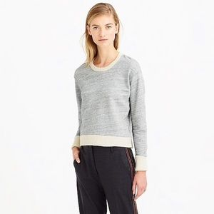 [J. Crew] XXS Sweater-Tipped Sweatshirt Cream Grey